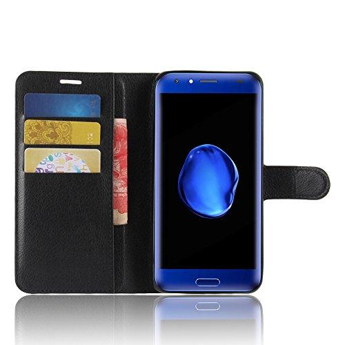 SMTR Doogee BL5000 Wallet Tasche Hülle - Ledertasche im Bookstyle in Schwarz - [Ultra Slim][Card Slot][Handyhülle] Flip Wallet Case Etui für Doogee BL5000