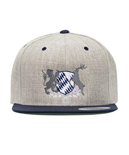 Waschechter Bayer Caps Herren Snapback 2farbig Hellgrau Blau Motiv:Bayern-Wappen