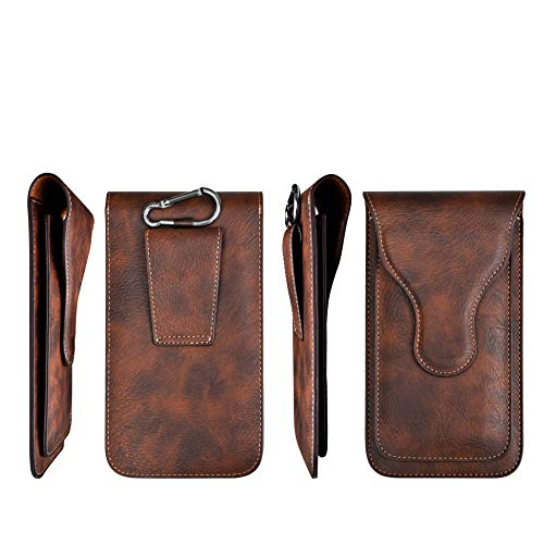 Techstudio Multi Function Mobile Phone Belt Clip Leather Holster Waist Bag with 2 Pocket for 6.5 inch Mobile and Card Holder