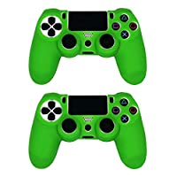 Tenthree Handle Silicone Case - Soft Grip Protective Cover for Sony PS4 Controller Rubber Case Handle Grip Sets of 2 Green