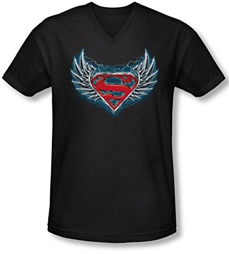 Superman - Herren Stahl Flügel-Logo mit V-Ausschnitt T-Shirt, X-Large, Black -