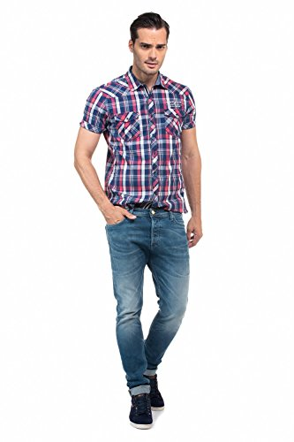 Salsa - Chemise à carreaux à manches courtes - Homme Bleu
