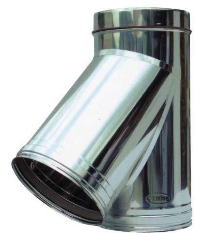 Y-Verbindungsstück für Rohr Ofenrohr aus Edelstahl Piemme Speedy art.08A 45° Ø 200mm (Edelstahl Ofenrohr-8)
