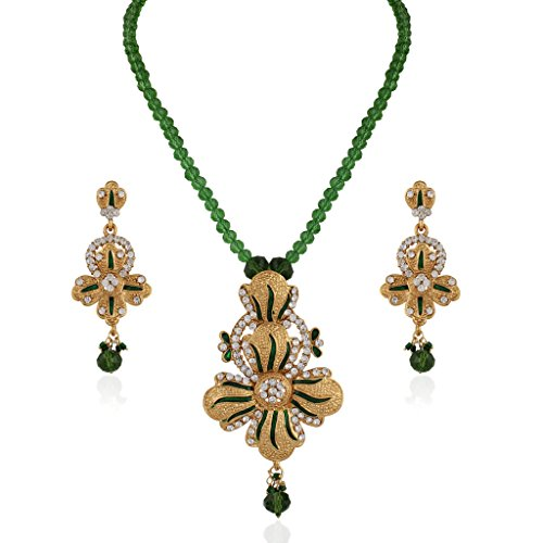 Variation Green Crystal Mala Pendant Set For Women - VD13901 (Gold Plated, Enamel, CZ Studded)