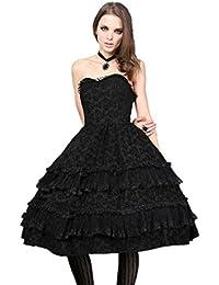 eeb8031741b Robe Bustier Noire Dentelle à Volants Lolita Gothique Vampire Victorien