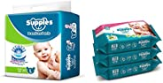 Supples Baby Pants Diapers, Large, 62 Count with Wet Wipes (Pack of 3)