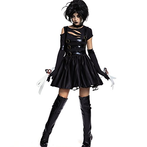 Miss Edward Scissorhands Damen kostüm für Fasching Karneval Halloween Verkleidung Monster Gotik Johnny Depp (L)