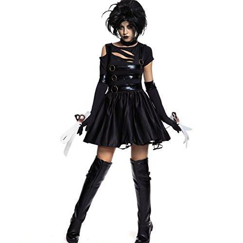 Scissorhands Damen Kostüm für Fasching Karneval Halloween Verkleidung Monster Gotik Johnny Depp (S) ()