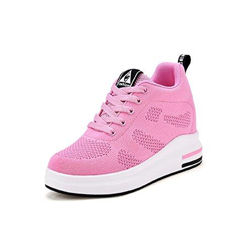 LILY999 Damen Sneaker Wedges mit Keilabsatz 8cm Turnschuhe Atmungsaktive Freizeitschuhe Sportschuhe Schwarz Weiß Rosa Grau(Rosa,Größe 39)