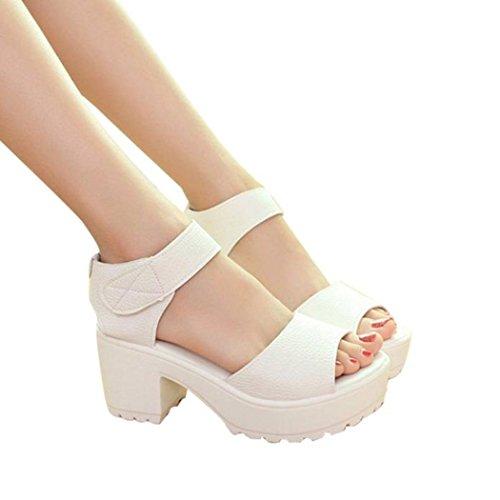 Elecenty Sandalen Damen Trichterabsatz Schuhe,Sommerschuhe Hoch Absatz Schuh Platform Regulierbaren Schnallen Shoes Offene High Heels Sandaletten Frauen Elegante Freizeitschuhe (36, Weiß)
