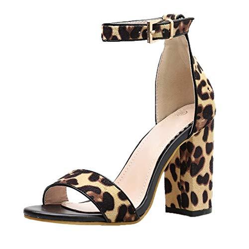 FRAUIT Sandali Estivi Donna Con Tacco Leopardati Sandali della Cintura della Caviglia Sandali Ragazza Con Tacco Quadrato Sandali Donne Eleganti Tacco Blocco Scarpe Eleganti Con Tacco Alto Da Cerimonia