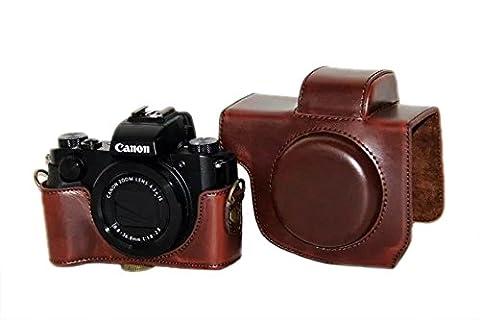 PDXD-share PU-cuir étui de protection pour appareil photo Canon Powershot G5 X Compact System (Café)