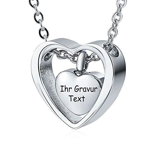 Daesar Edelstahl Herz Anhänger Kette Silber mit Gravur Gravur Asche Halskette für Gedenk Memorial Halskette (Baguette-kreuz-anhänger)