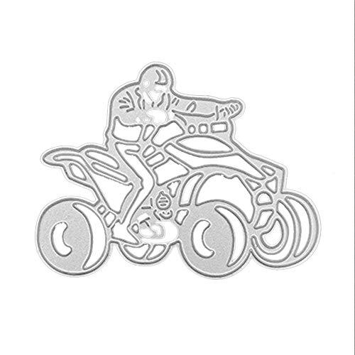 Andouy Stanzschablonen Scrapbooking Schablonen Stanzbögen Stanzformen Metall Sterben,Zubehör für Sizzix Big Shot/Cricut Cuttlebug/und Andere Stanzmaschine(I,Motorrad 90x70mm)