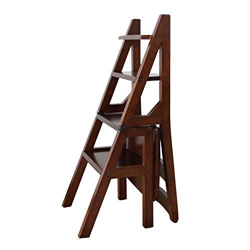 LJHA Tabouret pliable Chaise pliable en bois solide d'escalier/chaises multifonctionnelles de ménage/tabouret créatif d'échelle chaise patchwork (Couleur : Marron)