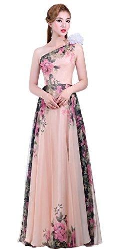 Eudolah Robe de soirée en mousseline à imprimé des fleurs robe de cérémonie demoiselle d'honneur femme Epaul Denude