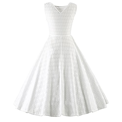 ILover 1950s 60s Femme Vintage Robe Pin-up Dentelle Cocktail Rockabilly Swing Soirée V033-White