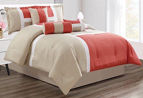 GrandLinen 7Stück Oversize Grau/Schwarz/Weiß Color Block Emma Tröster Set Betten Full Korallenrot (Tröster Set Schwarz Und Grau)