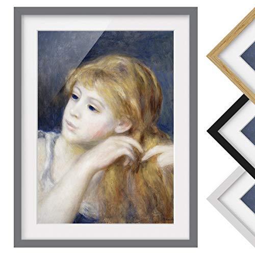 Bild mit Rahmen - Auguste Renoir - Kopf eines Mädchens - Farbe Grau, 40 x 30 cm