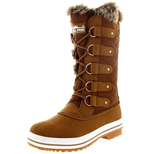 Damen Schnee Stiefel Nylon Tall Wasserdicht Gefüttert Regen Stiefel - Bräune - 38 - CD0028 (Booties Braune)