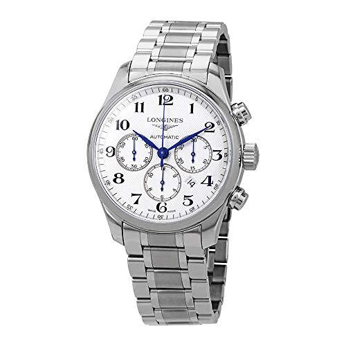 Longines orologio cronografo con cinturino e cassa in acciaio da uomo automatico L28594786
