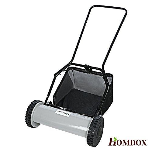 Homdox Handrasenmäher Spindelmäher Rasenmäher mit Grasfangkorb, 40 cm Schnittbreite, 15 - 40 mm verstellbare Schnitthöhe, umweltfreundlich