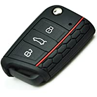 BluePony - Funda para llave de coche (compatible con Seat León SC, ST, 5F, silicona), color negro