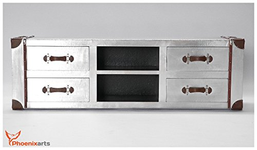 Phoenixarts Industrie Design Vintage TV Sideboard Schrank Aluminium Truhe Lowboard Loft Möbel 501 - 2