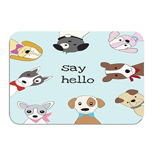 zengjiansm Outside Shoe Non-Slip Color Dot Doormat Cute Baby Dog Cartoon Sketch Animal Style Cute Baby Dog Cartoon Sketch Animal Style Retro Mats Entrance Rugs Carpet 16 * 24 inch