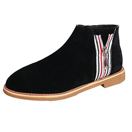 SCHOLIEBEN Boots Stiefel Chelsea Ankle Damen Winter Desert Combat Kurzschaft Halbschaft Flach Plateau Chukka Zipper Lack