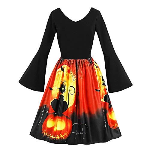 Sannysis Damen Vintage Swing Abendkleider Halloween Kostüm Retro Rockabilly Kleider Petticoat Faltenrock Cocktail Festliche Kleider (XXL, Schwarz)