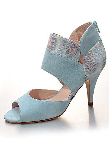 Marion Spath Damen Felipa Wildleder Designer Sandalette Hellblau