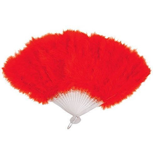RED FEATHER HAND FAN LADIES BURLESQUE FANCY DRESS COSTUME by - Burlesque Kostüm Red