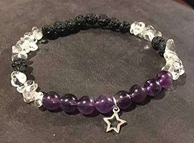 bracelet INTROSPECTION MISSION DE VIE Obsidienne Cristal de roche Améthyste perle de pierre naturelle semi précieuse