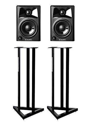 M-Audio Studiophile AV42 Monitore (Paar) SET mit Stativen (40 Watt, 4