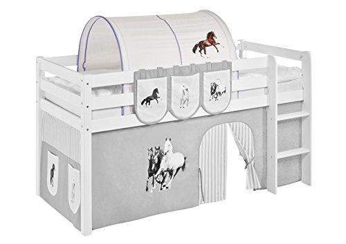Tunnel Pferde Lila Beige - für Hochbett, Spielbett und Etagenbett (Lila Hochbett Für Mädchen)