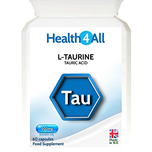 41xzVKU45%2BL. SS500  - L-Taurine 500mg 60 Capsules (V) Adrenal Fatigue and GABA Boost. Made by Health4All