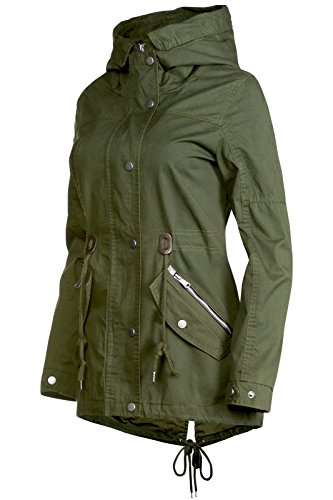 Trisens Damen Jacke ÜBERGANGSJACKE Trenchcoat Kapuze 100% Baumwolle LEICHT KURZ, Größe:S, Farbe:Olive - 2