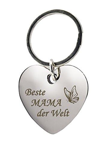 """Schlüsselanhänger Herz mit Gravur """"Beste Mama der Welt"""" mit Schmetterling – Chrom – Geschenk – Mutter – Mama – Muttertag oder als Geschenk zu Weihnachten"""