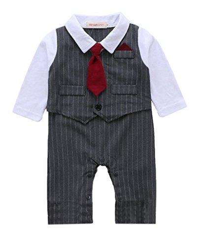 Minetom Bambini Ragazzi Primavera Autunno Manica Lunga Pagliaccetto Abiti Strisce Vest Con Rosso Cravatta Grigio 95