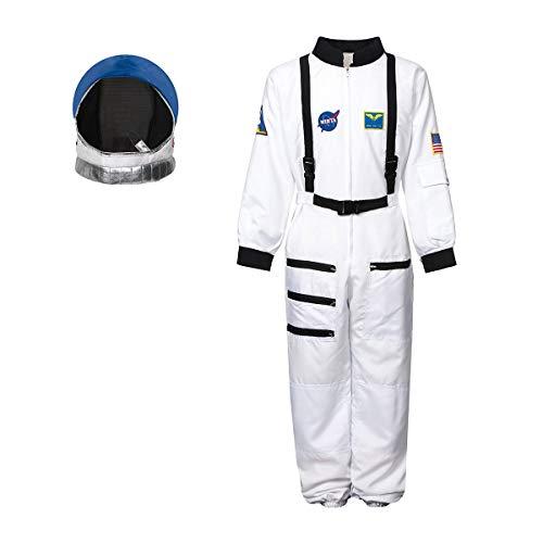 Kostümplanet® Astronautenkostüm Kind 128 + Astronautenhelm Kinder Space Kostüm