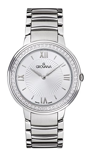 Grovana Orologio da donna con display analogico e acciaio inox argento cinturino 2099.7132