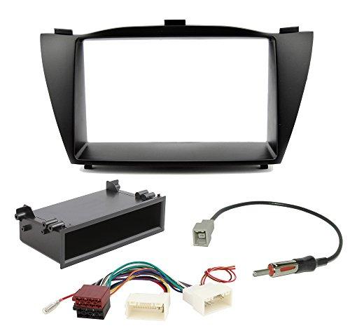Kit di installazione Radio per Hyundai ix35Tucson AB 2010mascherina per autoradio Doppio DIN + vano portaoggetti + Adattatore Radio Antenna