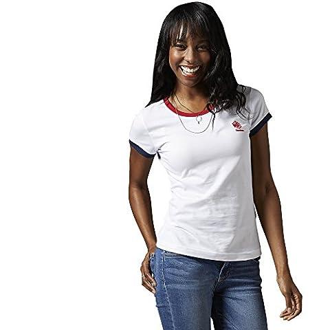 Reebok Damen Logo T-shirt classic, Weiß, 2XS, AA9165