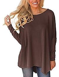 50d24088dfa LAIKETE Blouse Femme Asymétrique T-Shirt Elegant Manche Longue Chauve  Souris Tunique Ample Haut Automne