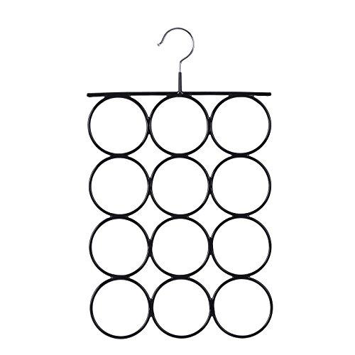 SONGMICS Schalbügel Schalhalter aus Metall Schal- und Tuchhalter mit rutschfeste Oberfläche 12 Schlaufen, Maße: 42 x 25 cm Ringe ø 7,5 cm Kleiderbügel für Schals, Krawatten, Schwarz CRI22B