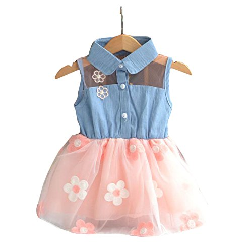 ROKOO Art und Weise nette Baby des neuen Kleinkind -Kleidung Denim Top Sun Flower Princess Tutu-Kleid (Princess Tutu Kleid)
