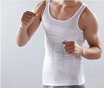"""Body Shaper For Men Slimming Shirt Vest Weight Loss Fat Blocker Burner not Pills (L (47""""-55""""), White)"""