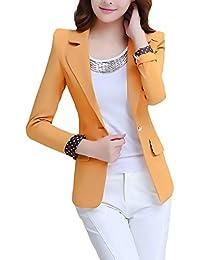 8cecd79da2e3c6 Blazer Damen Frühling Herbst Fashion Casual Business Geschenke Für Frauen  Office Sakko Langarm Revers mit Button Slim Fit Unifarben…
