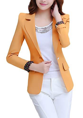 Blazer Damen Frühling Herbst Fashion Casual Business Geschenke Für Frauen Office Sakko Langarm Revers mit Button Slim Fit Unifarben Elegante Anzugjacke Mantel Damenjacken